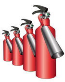 Group of red fire extinguishers — Stock Vector