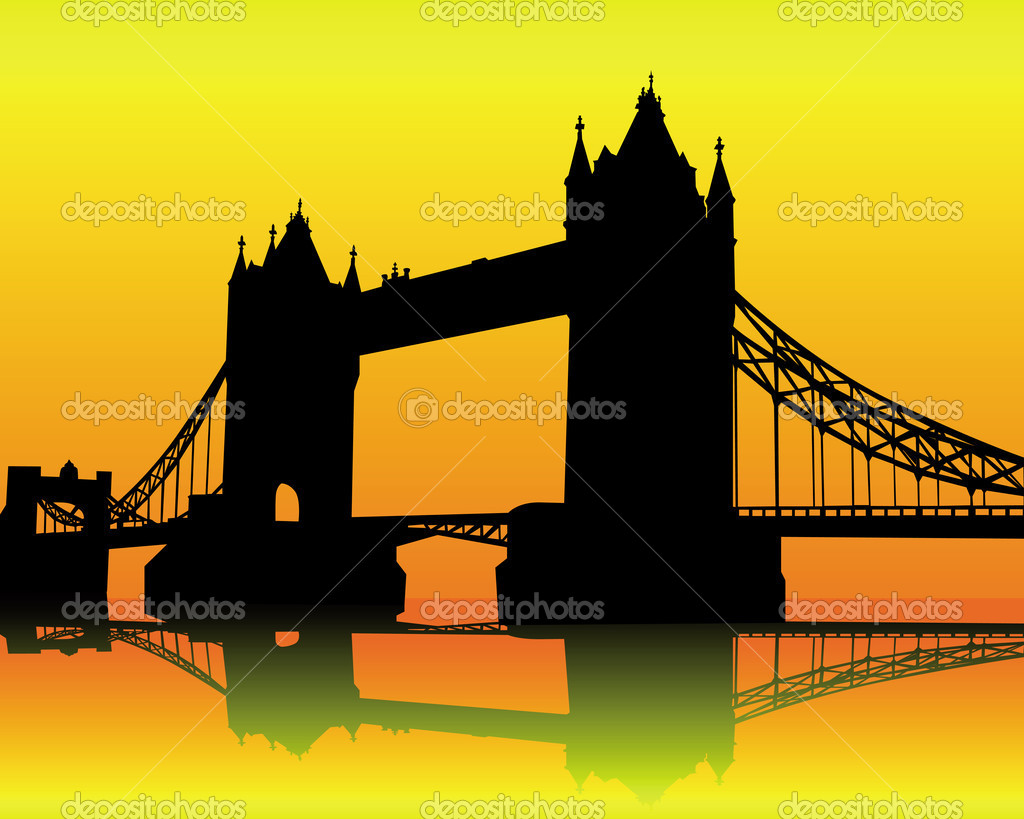 Silhouette Tower Bridge on an orange background — Stock Vector #5487666
