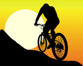 Silhouette of a mountain biker — Stock Vector