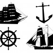 Stock Vector: Silhouettes of sailboats, anchors and steering wheel