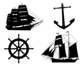 Silhouettes of sailboats, anchors and steering wheel — Stock Vector