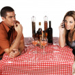 Bistro Couple Ignoring — Stock Photo