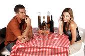 Bistro Couple Ignoring — Stock Photo
