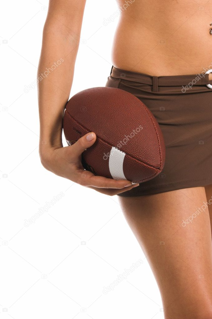 Sexy woman in a bikini, holding a footballBikini by Swim Bay  Stock Photo #6738427