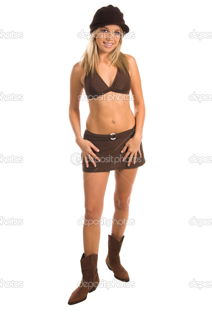 Sexy woman in a bikini top, skirt and knit cap,Bikini by Swim Bay  Stock Photo #6738431