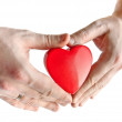 Heart on man's hand — Stockfoto