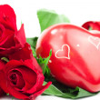 Red roses with heart — Stock Photo