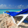 Beach Chair at the caribbean sea - Stock Photo