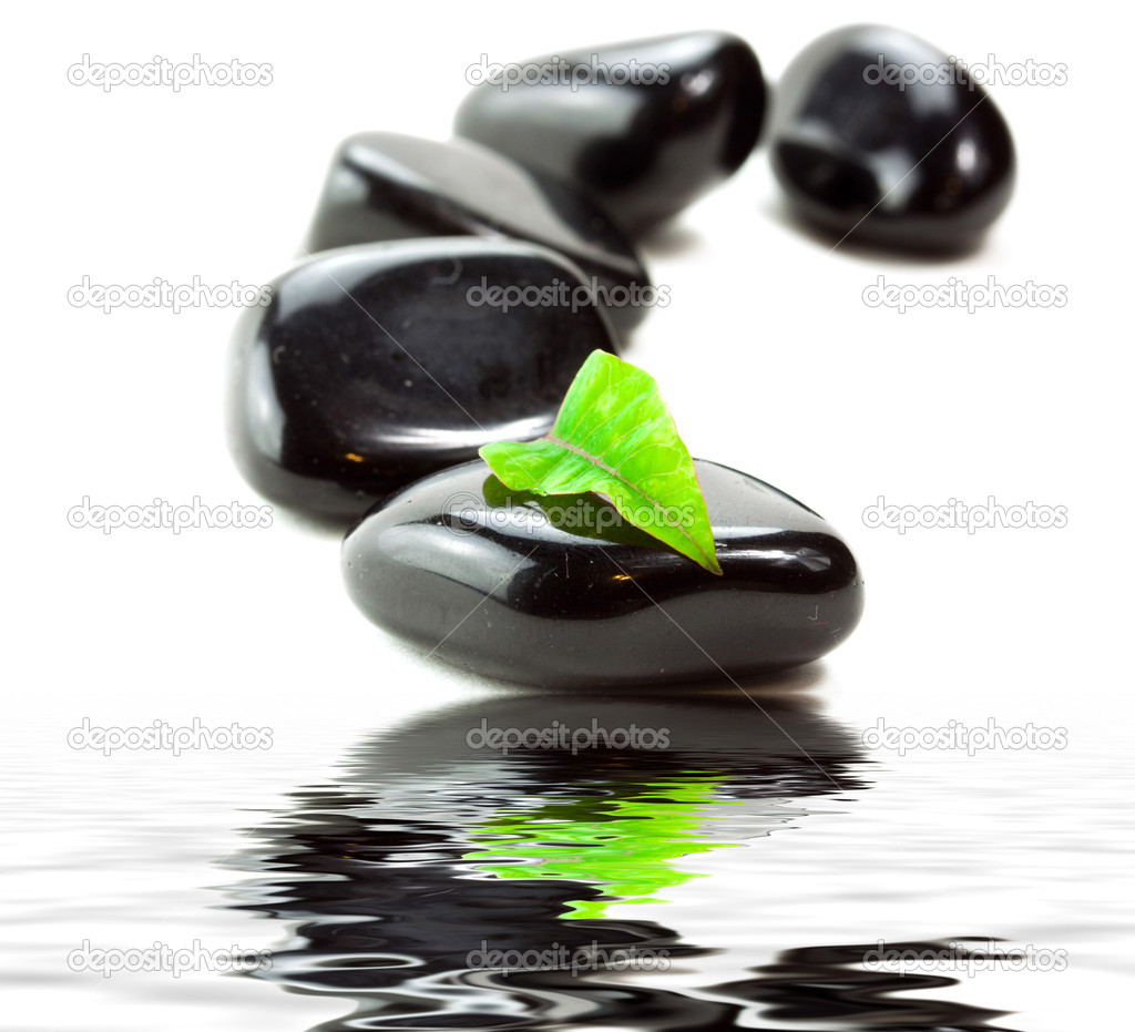 Black SPA stones with green leaf and reflection in water  Stock Photo #6635434