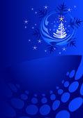 Plantilla de navidad azul — Vector de stock