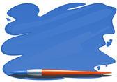 Szczotki i pędzla niebieskiej farby — Wektor stockowy