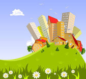 Abstract vector city - summer — Stock Vector