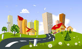 Vector city - summer — Stock Vector