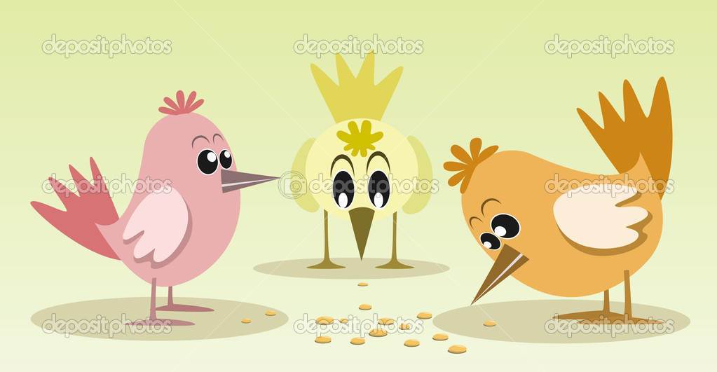 Cute and colorful little birds, vector illustration — Stock Vector #5845844