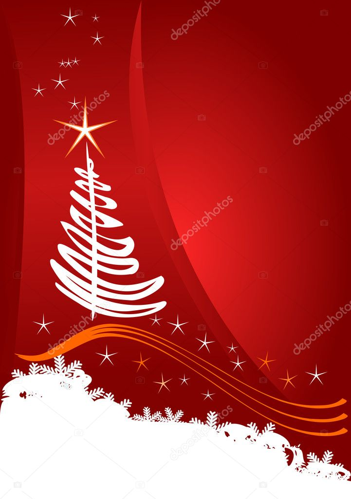 Christmas template, red background with stars  Stock Vector #5845888