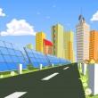 Solar vector City for solar panels — Stock Vector #6381854