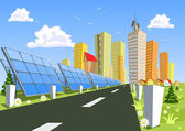 Solar vector City for solar panels — Stock Vector