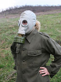 Girl with gas mask — Stock Photo