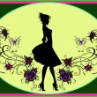 Modern Mary Poppins Silhouette - Stock Photo