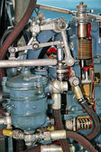 Part of airplane 6 cilynder engine — Stock Photo