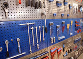 Tools on toolstable on the wall — Stock Photo