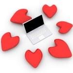 Laptop in Love — Stock Photo