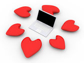 Laptop in Love — 图库照片