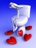 Smoorverliefd in het toilet — Stockfoto