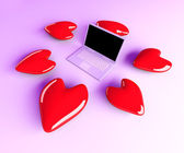 Laptop in Love — Stockfoto