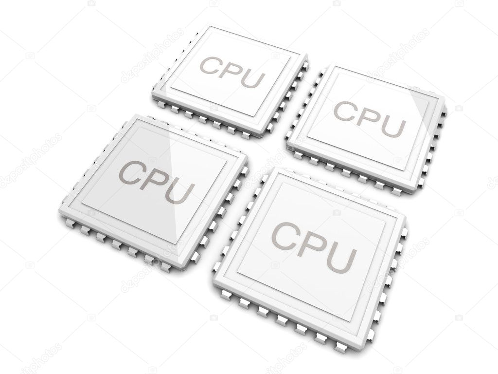 3D rendered Illustration. Two core CPU. Isolated on white. — Foto de Stock   #6051640