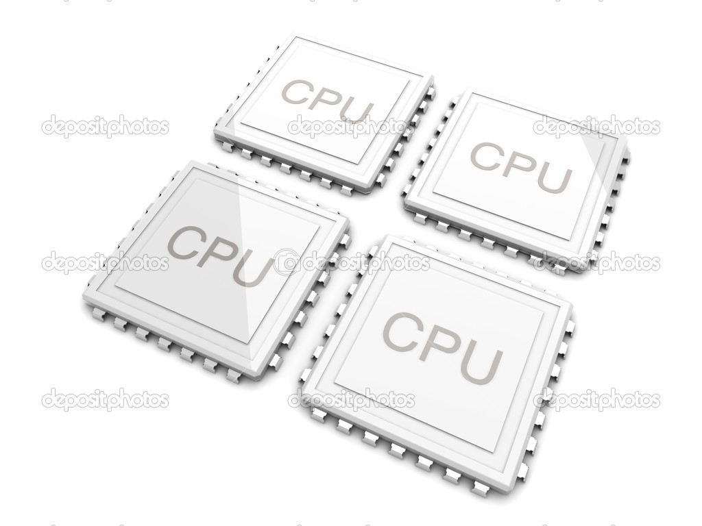 3D rendered Illustration. Two core CPU. Isolated on white. — Lizenzfreies Foto #6051640