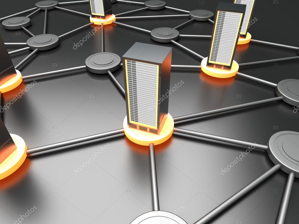Connected cloud of 19 inch server towers. 3D rendered illustration. — Stock Photo #6229165