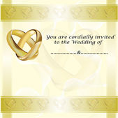 A wedding invitation card with gold rings — Stock Vector