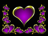 A purple hearts Valentines Day Background — Vecteur