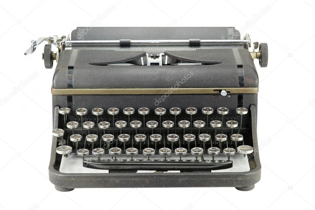 Front view of a black worn vintage typewriter on white background  Stock Photo #6443990