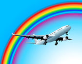 Flying to the rainbow — Stock Vector