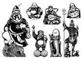 Seven Lucky Gods — Stock Vector