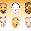 Japan Noh and Kyogen masks | Set 1 — Stock Vector
