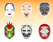 Japan Noh and Kyogen masks | Set 2 — Stock Vector