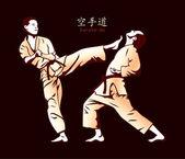 Karate fight — Stock Vector