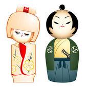 Geisha and Samurai — Stock Vector