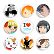 Anime badges | Set 2 — Stock Vector