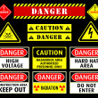 Danger warning symbols - Stock Vector