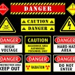 Stock Vector: Danger warning symbols