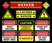 Danger warning symbols — Stock Vector