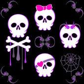 Emo skulls — Stock Vector