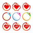 Heart stickers or labels — Stock Vector