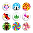 Vettoriale Stock : Hippie badges