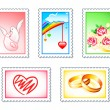 Wedding stamps — Stock Vector