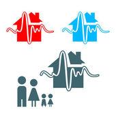 Earthquake insurance icon — Stock Vector